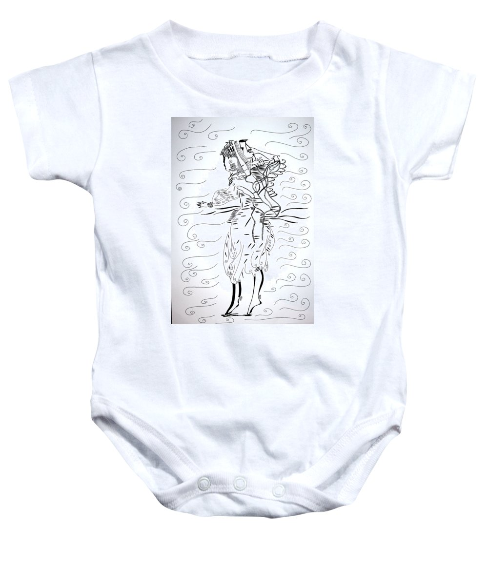 Jesus Baby Onesie featuring the drawing Tunisian Dance by Gloria Ssali
