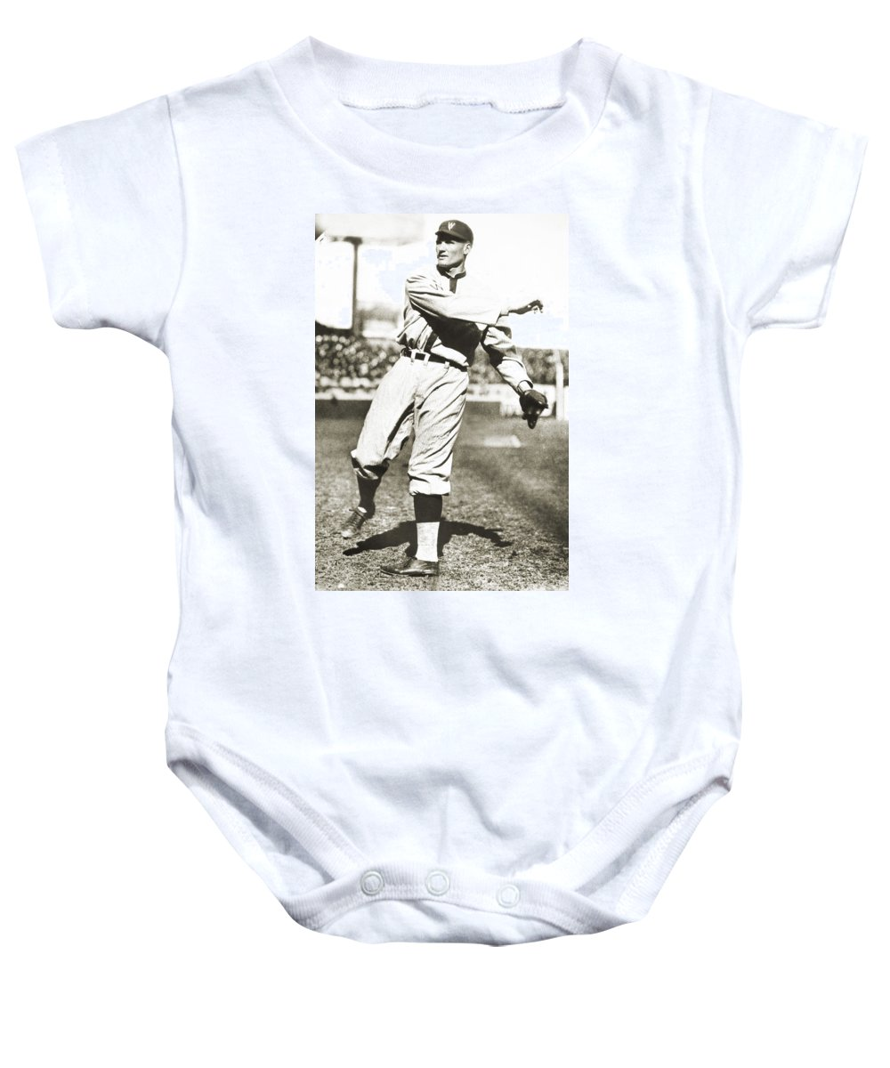 1925 Baby Onesie featuring the photograph Walter Johnson (1887-1946) by Granger