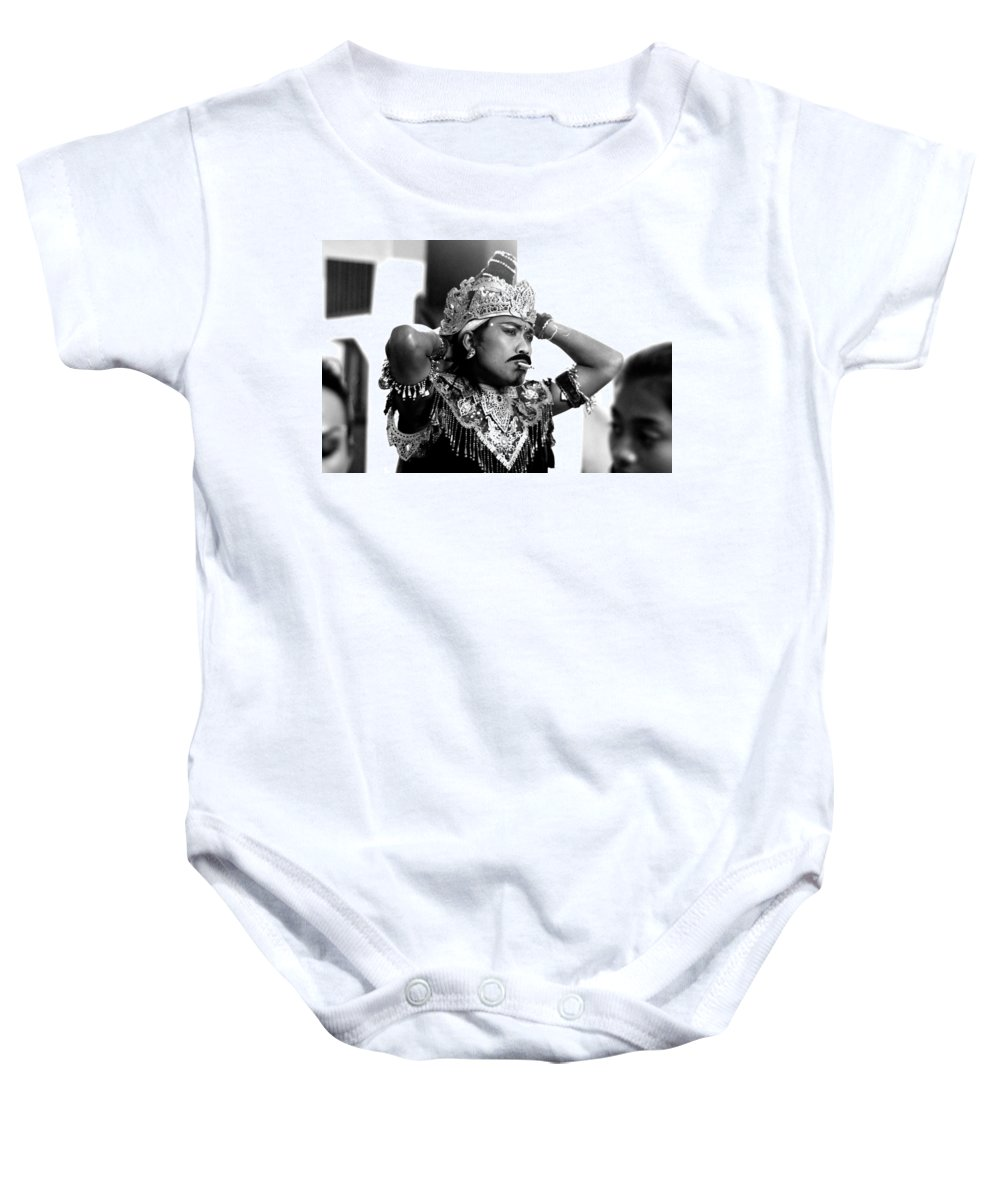 Black And White Photography Baby Onesie featuring the photograph A Balinese Smoke by Valerie Rosen