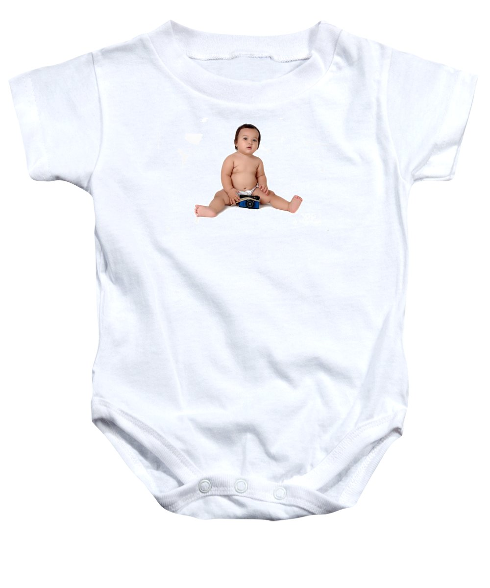 Baby Baby Onesie featuring the photograph A Chubby Little Girl Sit With A Vintage Camera by Antoni Halim