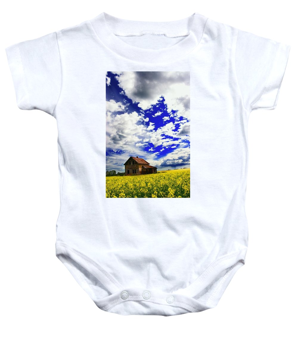 Agriculture Baby Onesie featuring the photograph Abandoned Farmhouse In A Canola Field by Don Hammond