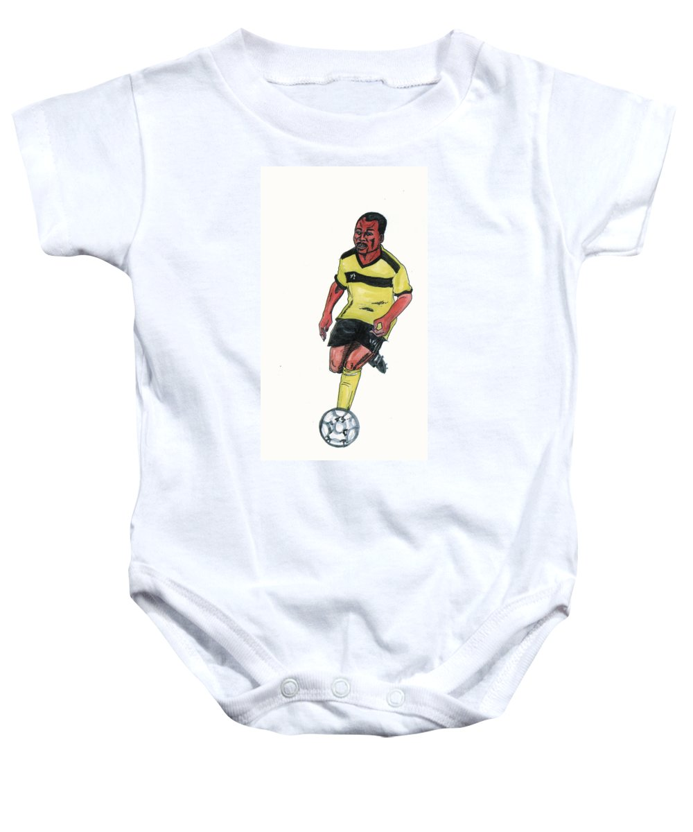 Portraits Baby Onesie featuring the painting Abedi Pele by Emmanuel Baliyanga