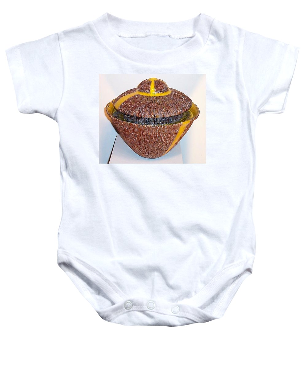 Clay Baby Onesie featuring the ceramic art Abitragged by Mike McGoff