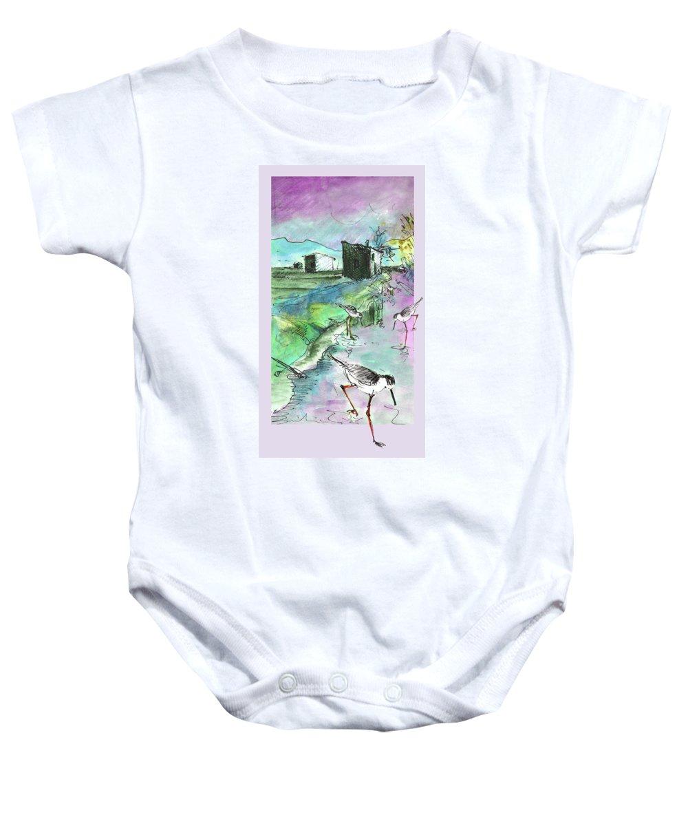 Travel Sketch Baby Onesie featuring the painting Albufera De Valencia 14 by Miki De Goodaboom