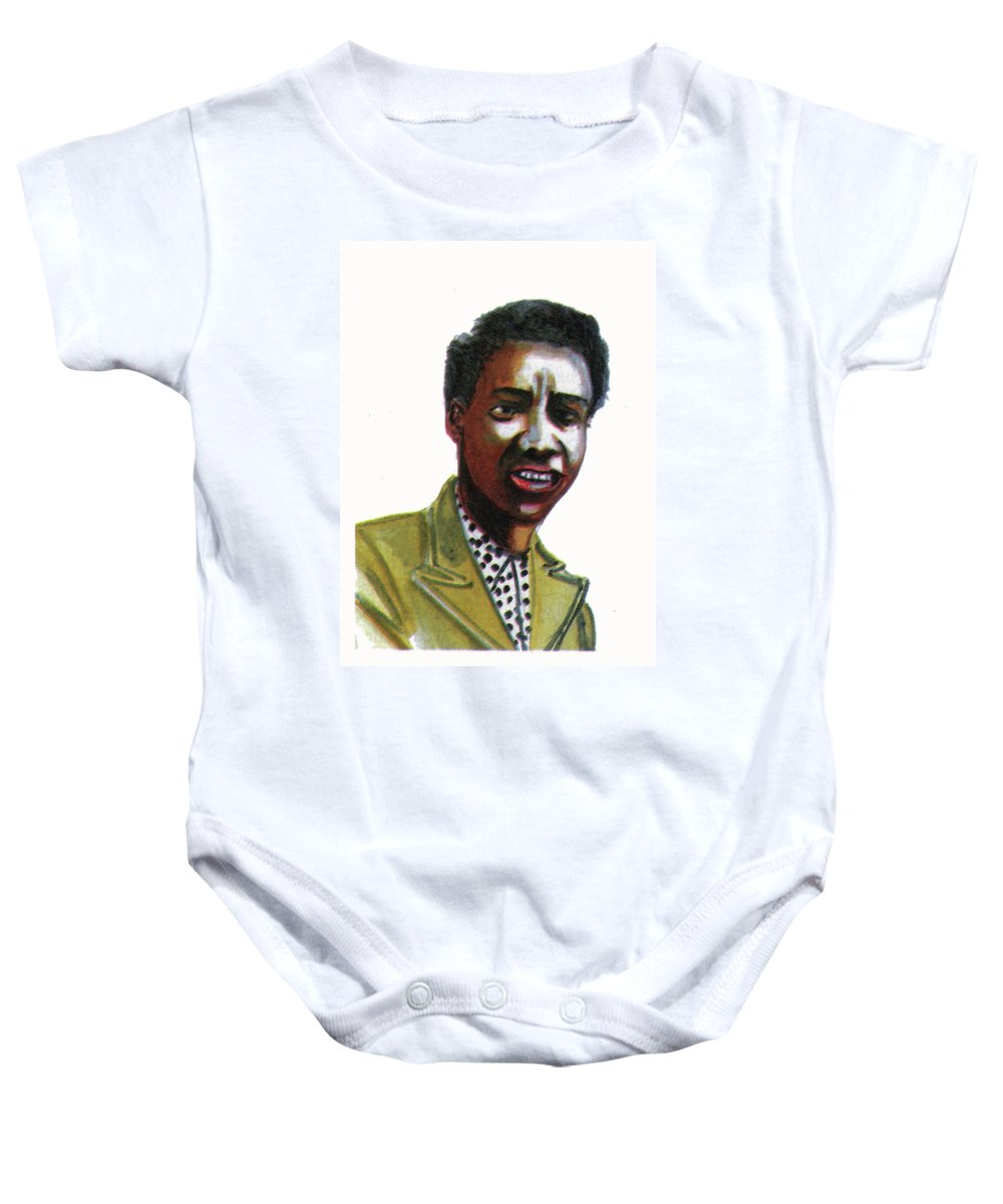 Portraits Baby Onesie featuring the painting Althea Gibson by Emmanuel Baliyanga