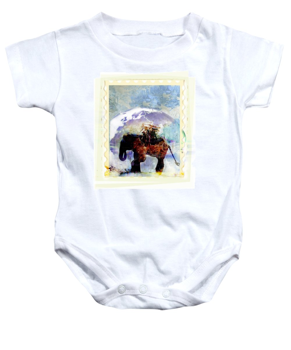 Outside Baby Onesie featuring the photograph An Elephant Carrying Cargo by Design Pics Eye Traveller
