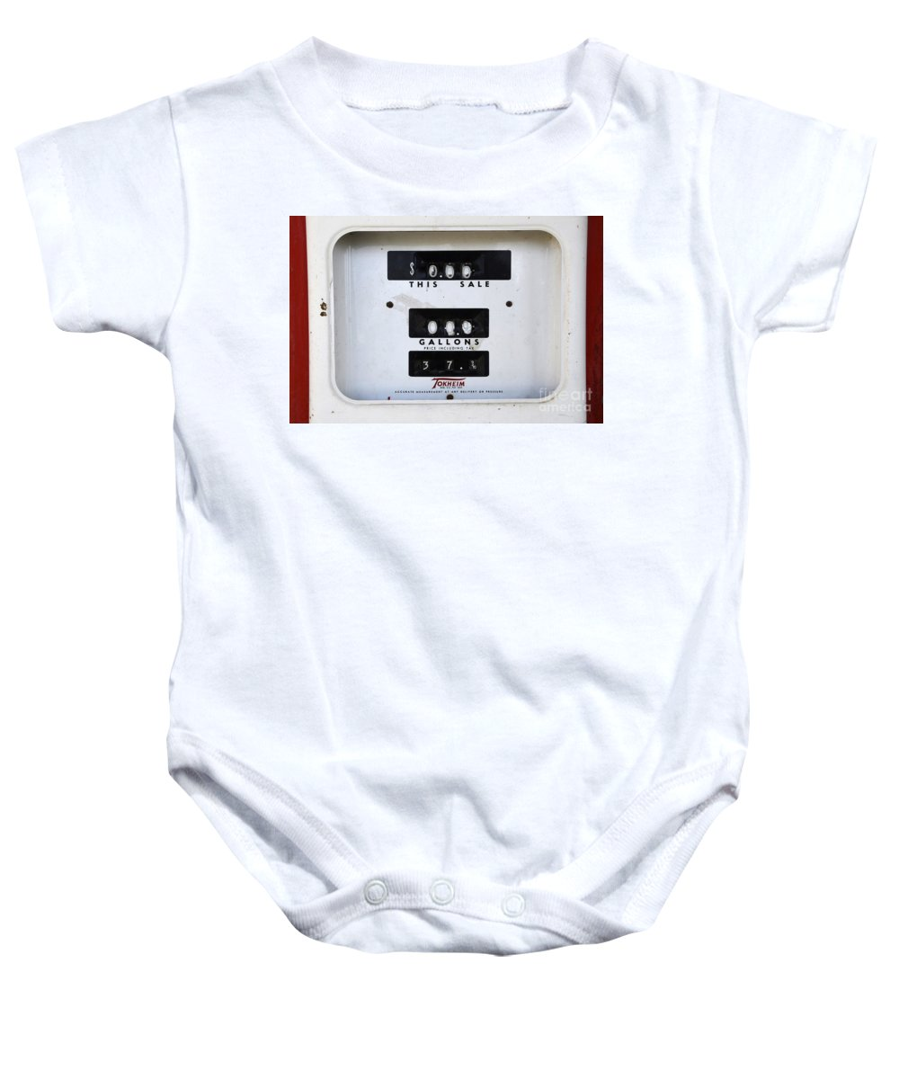 Gas Pump Baby Onesie featuring the photograph Ancient History Lesson by Bob Christopher