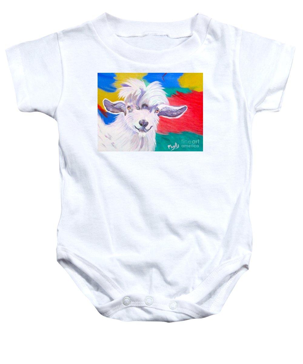 Angora Baby Onesie featuring the painting Angora Sweetie by Phyllis Kaltenbach