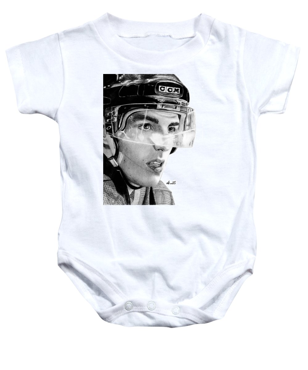 Alex Baby Onesie featuring the drawing Anticipation by Kayleigh Semeniuk
