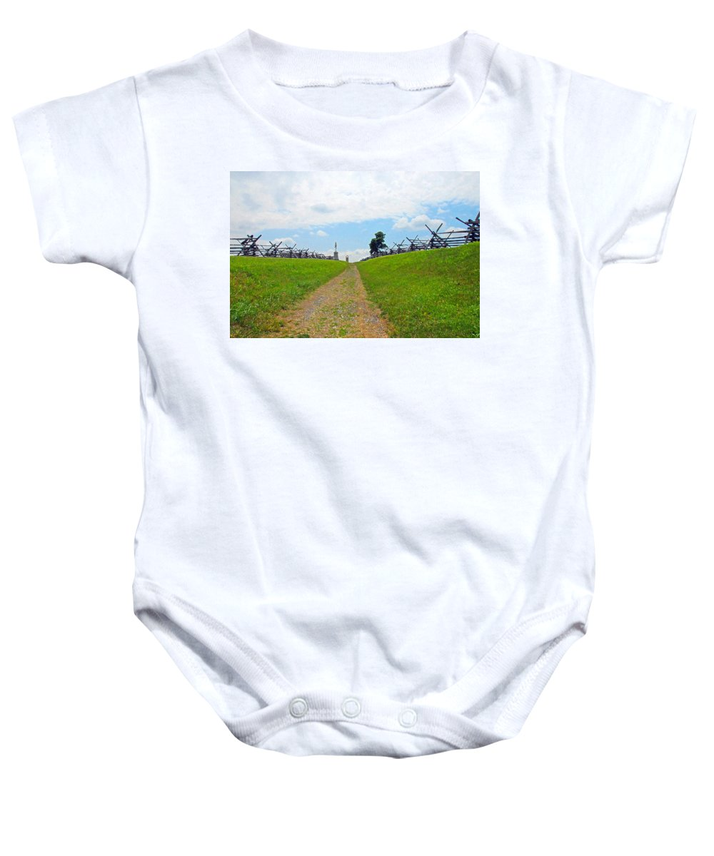 War Baby Onesie featuring the photograph Antietam Battle Of Bloody Lane by Cindy Manero