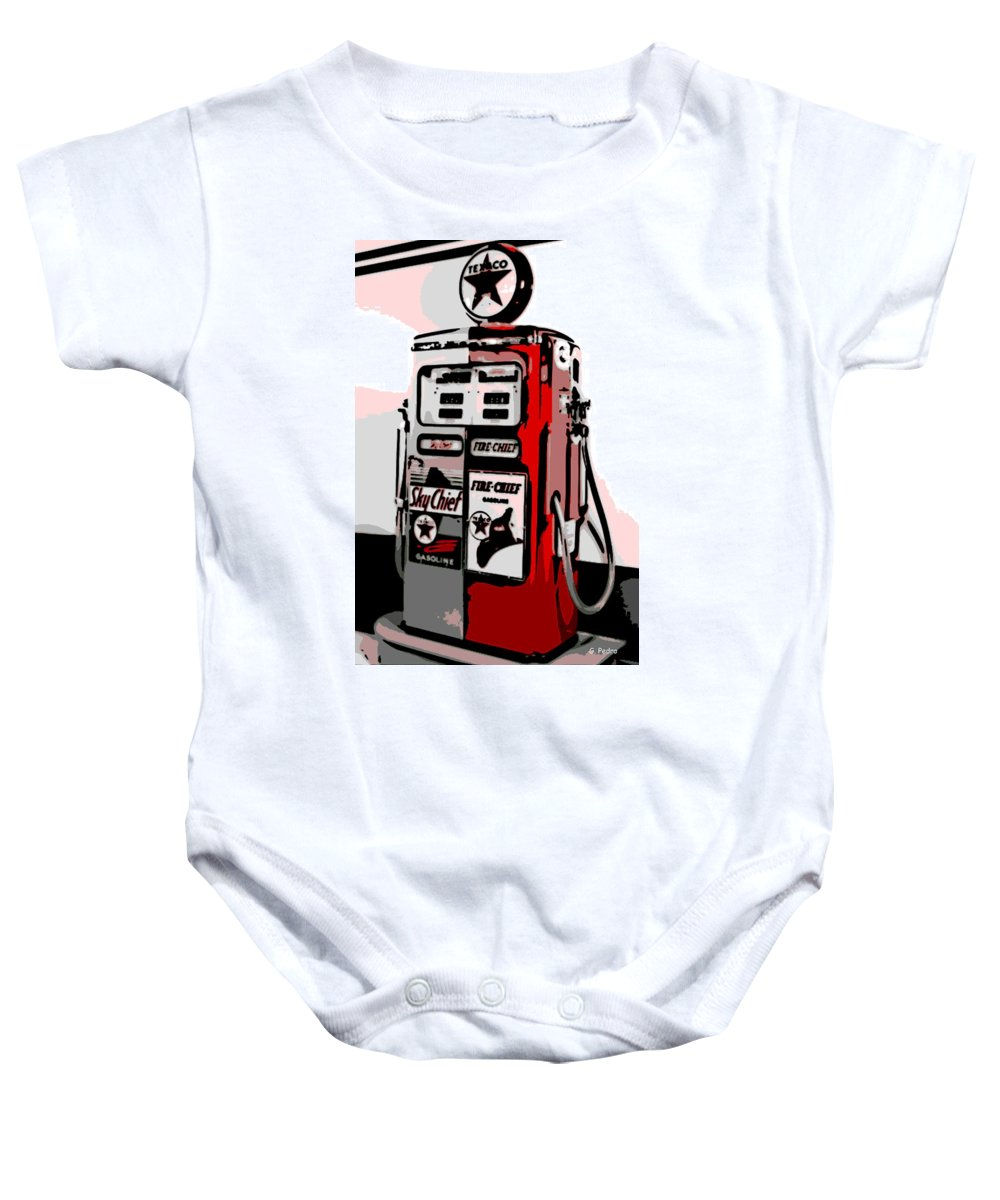 Antique Baby Onesie featuring the photograph Antique Gas Pump by George Pedro