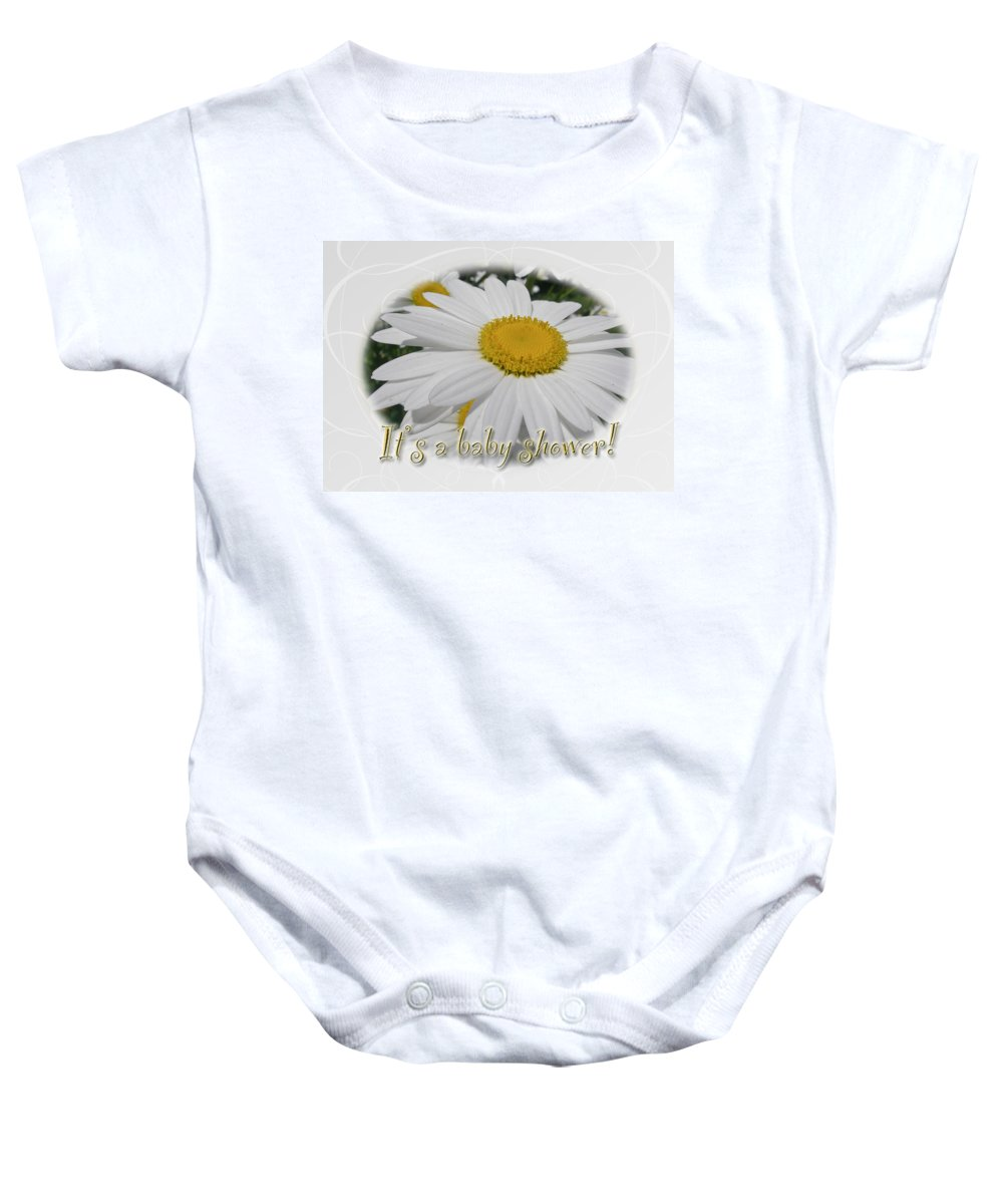 Baby Baby Onesie featuring the photograph Baby Shower Invitation - Ox Eye Daisy by Mother Nature