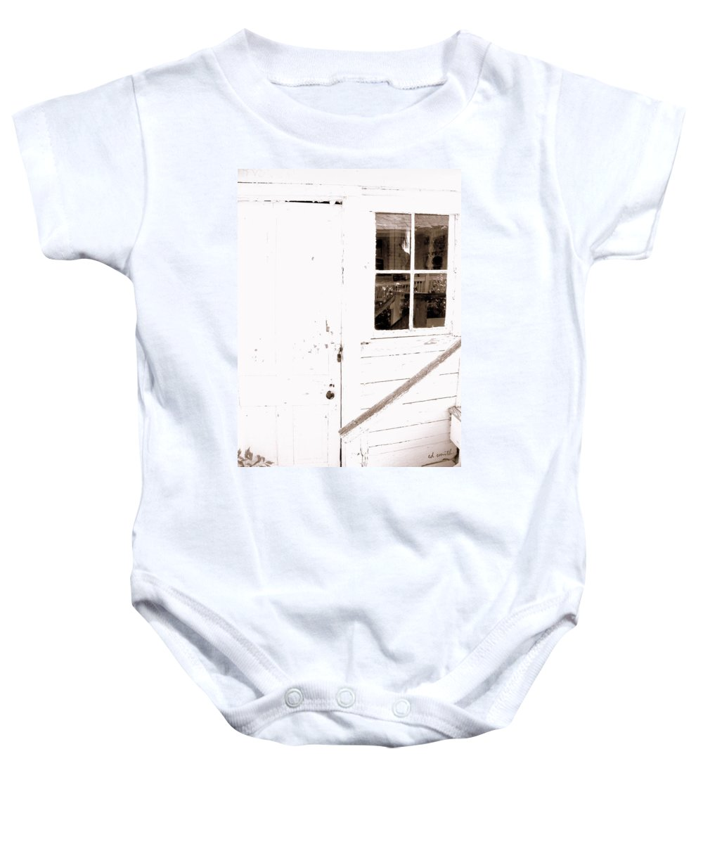 Back Porch Reflections Baby Onesie featuring the photograph Back Porch Reflections by Ed Smith