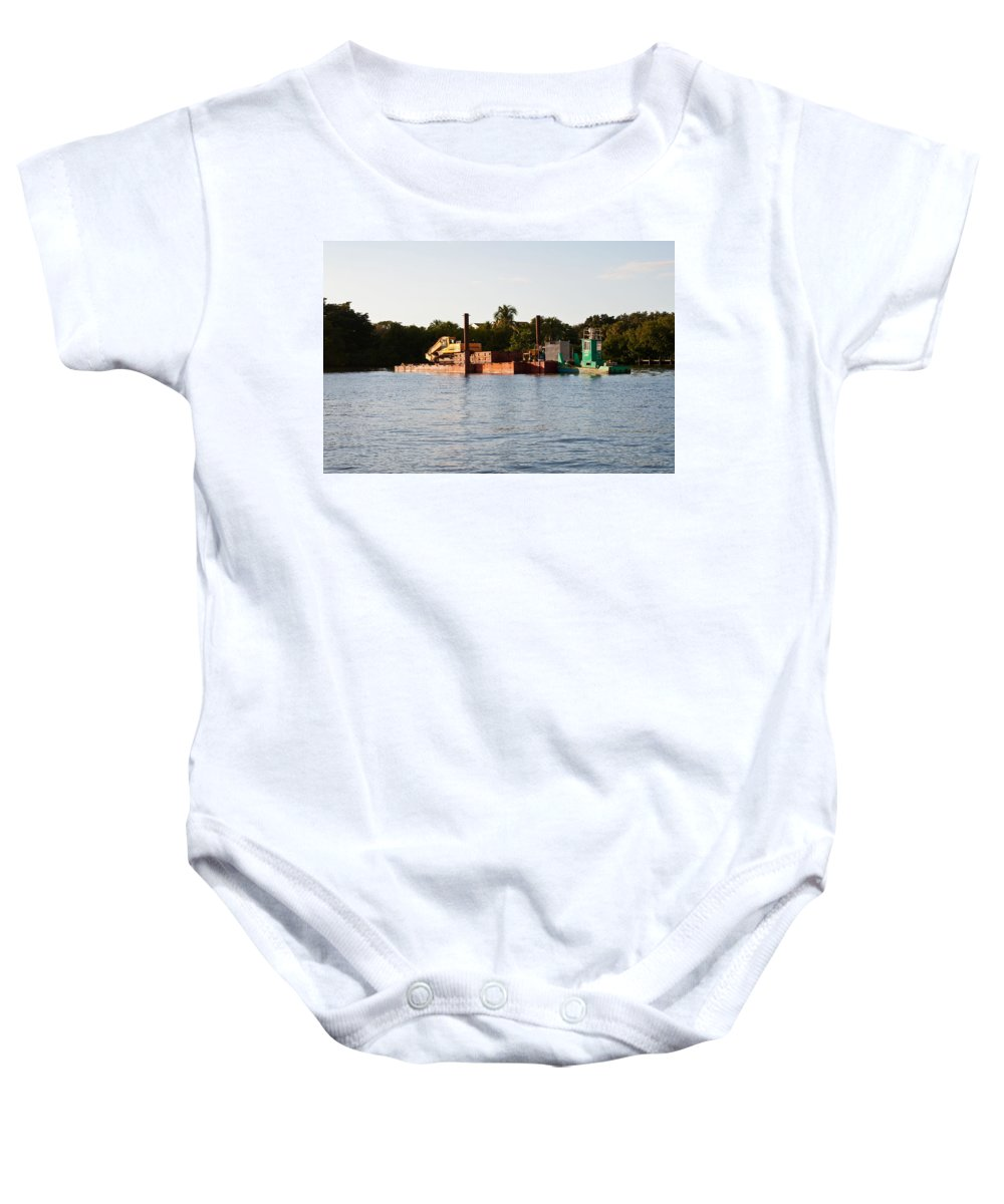 Barge Baby Onesie featuring the photograph Barge In Naples Bay by Christine Stonebridge