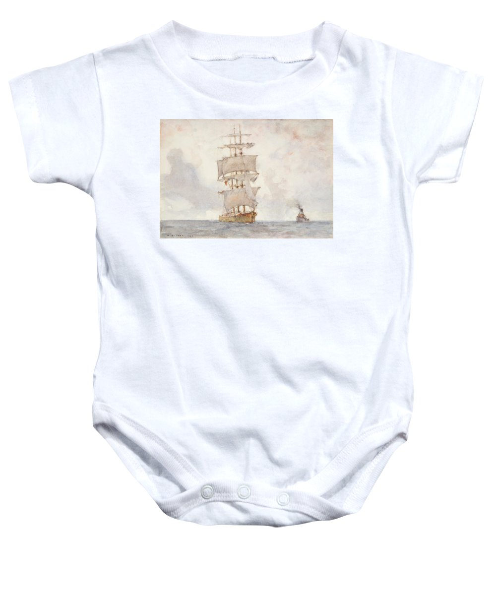 Sailing Boat; Ship; Sails; Square Rigger; Newlyn School Baby Onesie featuring the painting Barque And Tug by Henry Scott Tuke