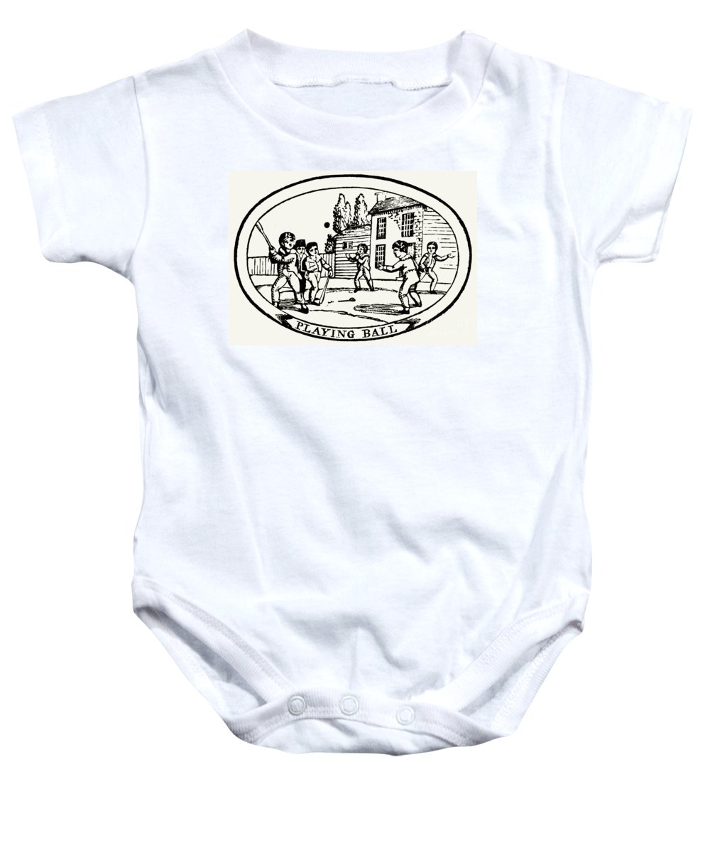 1820 Baby Onesie featuring the photograph Baseball Game, 1820 by Granger