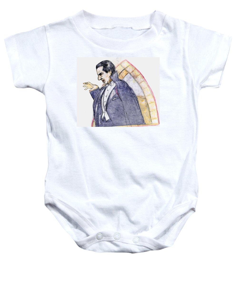 Nostalgia Baby Onesie featuring the drawing Bela Lugosi by Mel Thompson