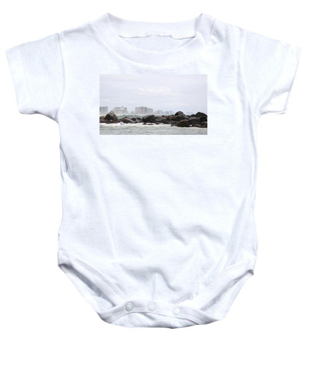 Gulf Of Mexico Baby Onesie featuring the photograph Beyond The Rocks by Travis Truelove