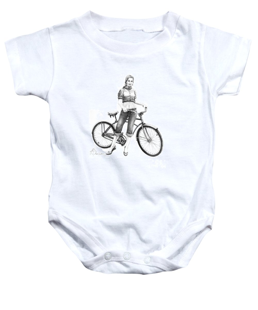 Drawing Baby Onesie featuring the drawing Bicycle Girl by Murphy Elliott