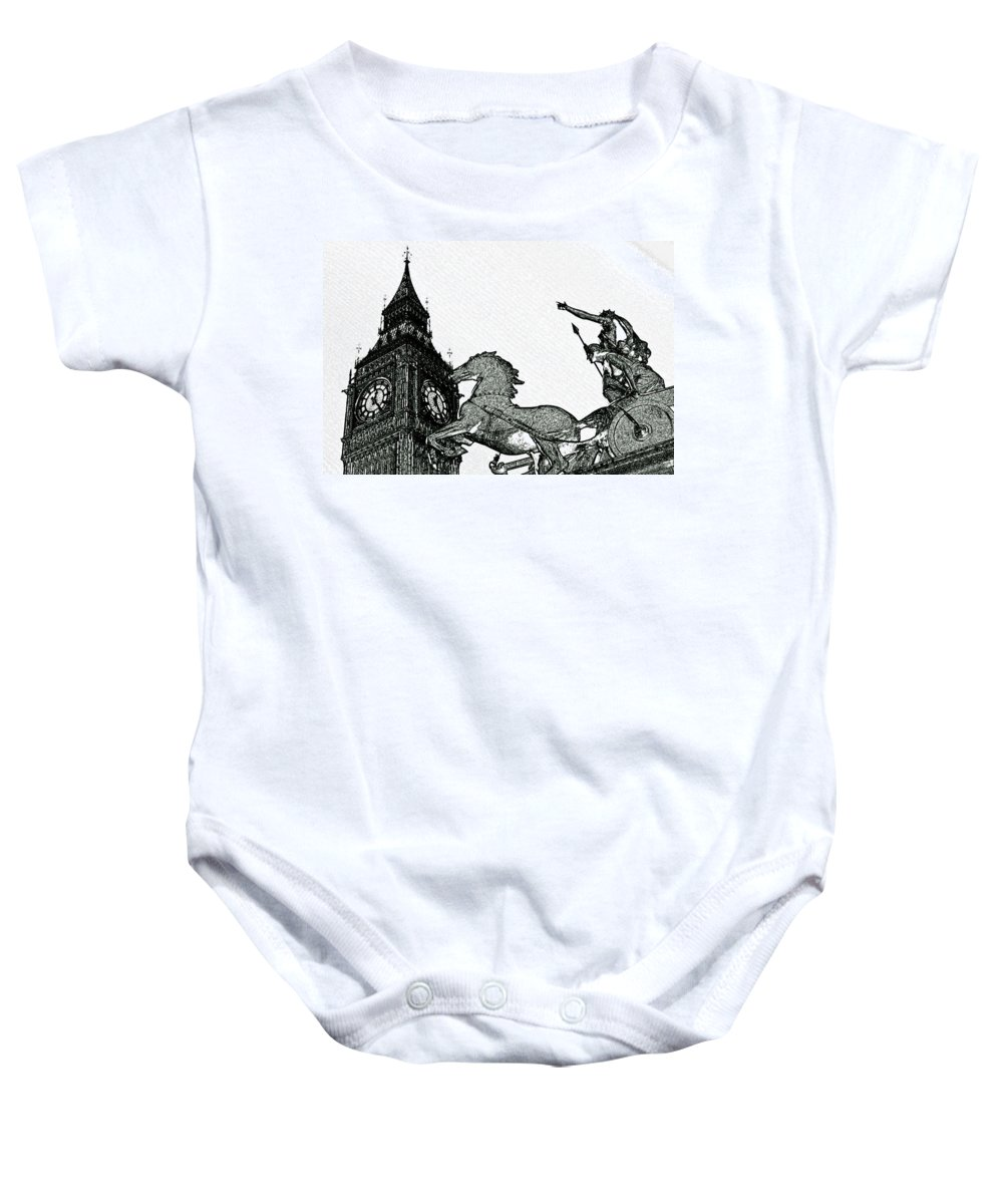 Charcoal Baby Onesie featuring the digital art Big Ben And Boudica Charcoal Sketch Effect Image by David Pyatt