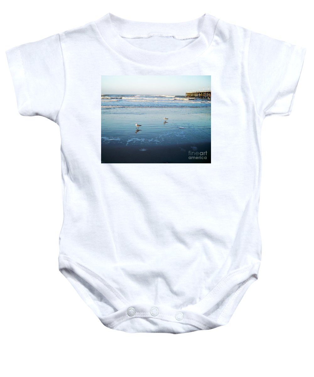 Florida Baby Onesie featuring the photograph Birds At Dusk Vanilla Pop by Chris Andruskiewicz