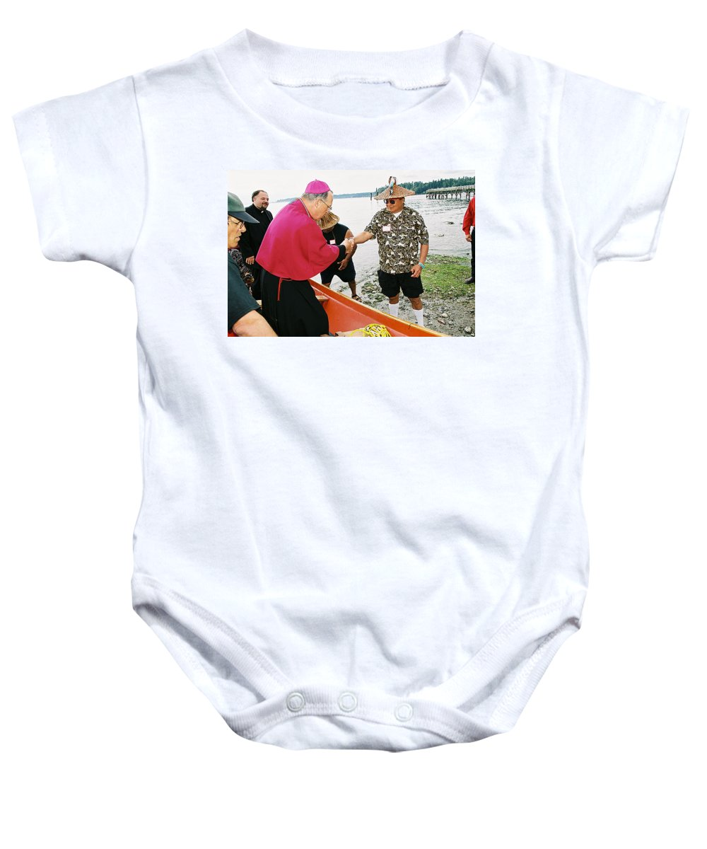 Archbishop Brunett Baby Onesie featuring the photograph Bishop Arrives by Mike Penney