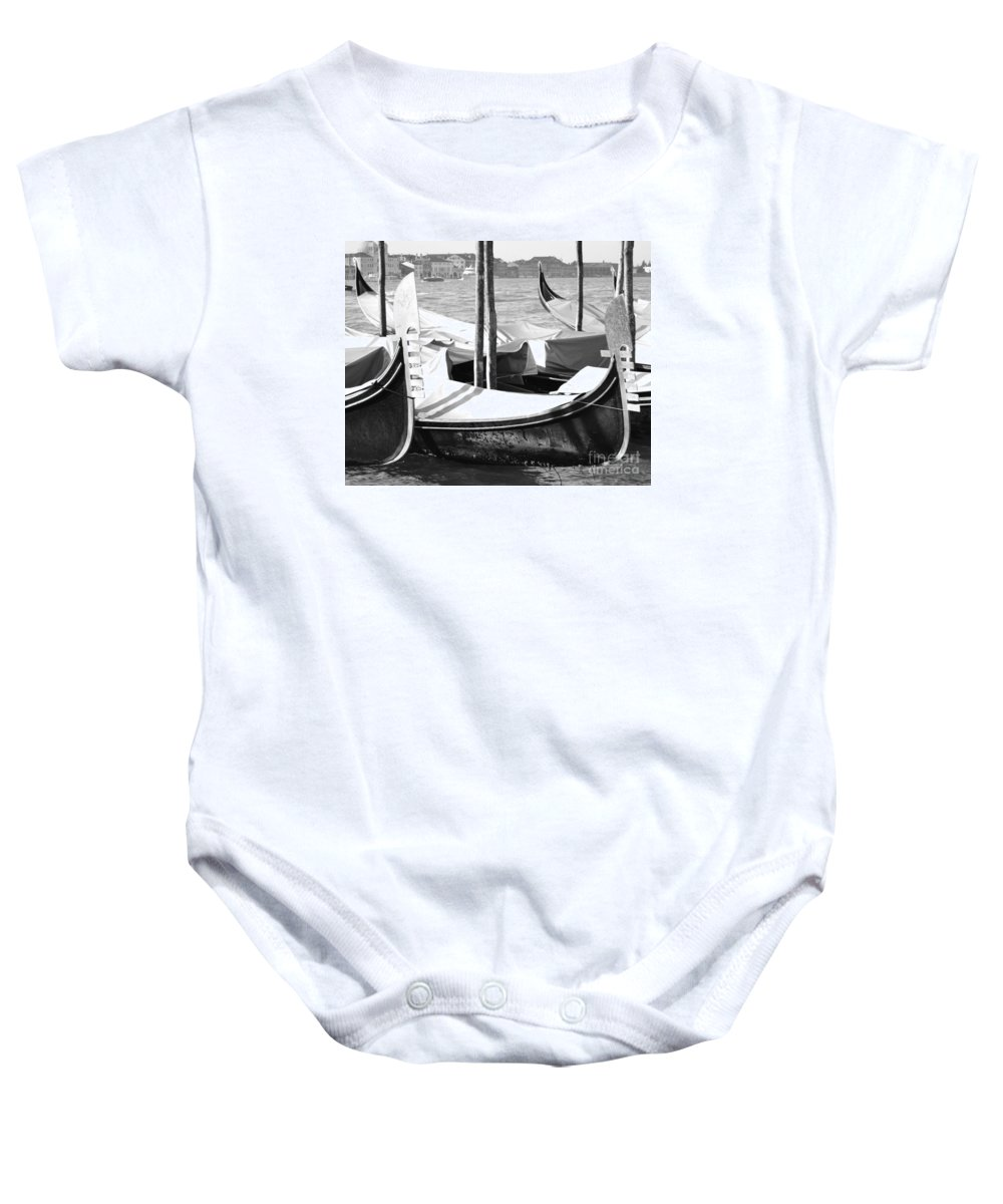 Gondola Art Baby Onesie featuring the photograph Black And White Gondolas Venice Italy by Rebecca Margraf