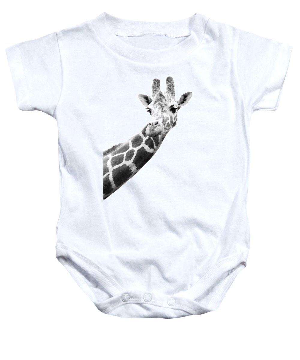 Animal Baby Onesie featuring the photograph Black And White Portrait Of A Giraffe by Darren Greenwood