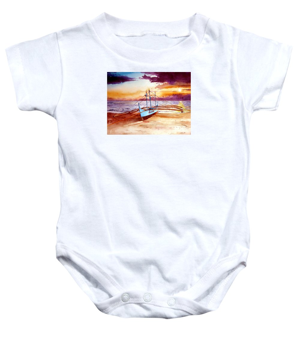 Sunset Baby Onesie featuring the painting Blue Boat On The Shore by Christopher Shellhammer