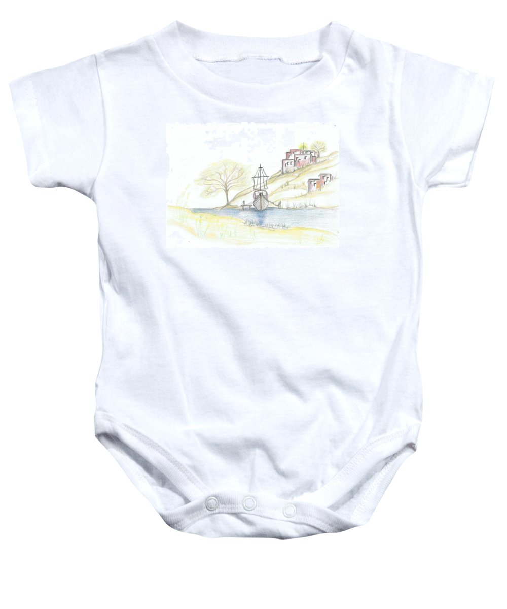 Boat Baby Onesie featuring the painting Boat In The Village by Barbara Taboada