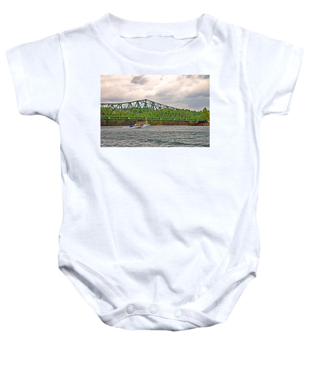 Boats Baby Onesie featuring the photograph Boats Under Bridge by Susan Leggett