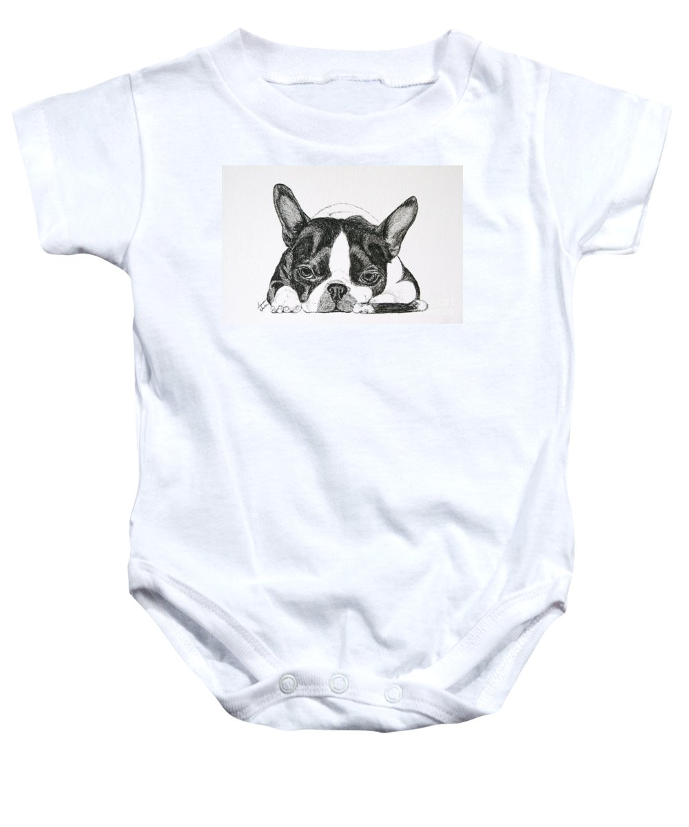 Boston Terrier Baby Onesie featuring the drawing Bone Tired by Susan Herber