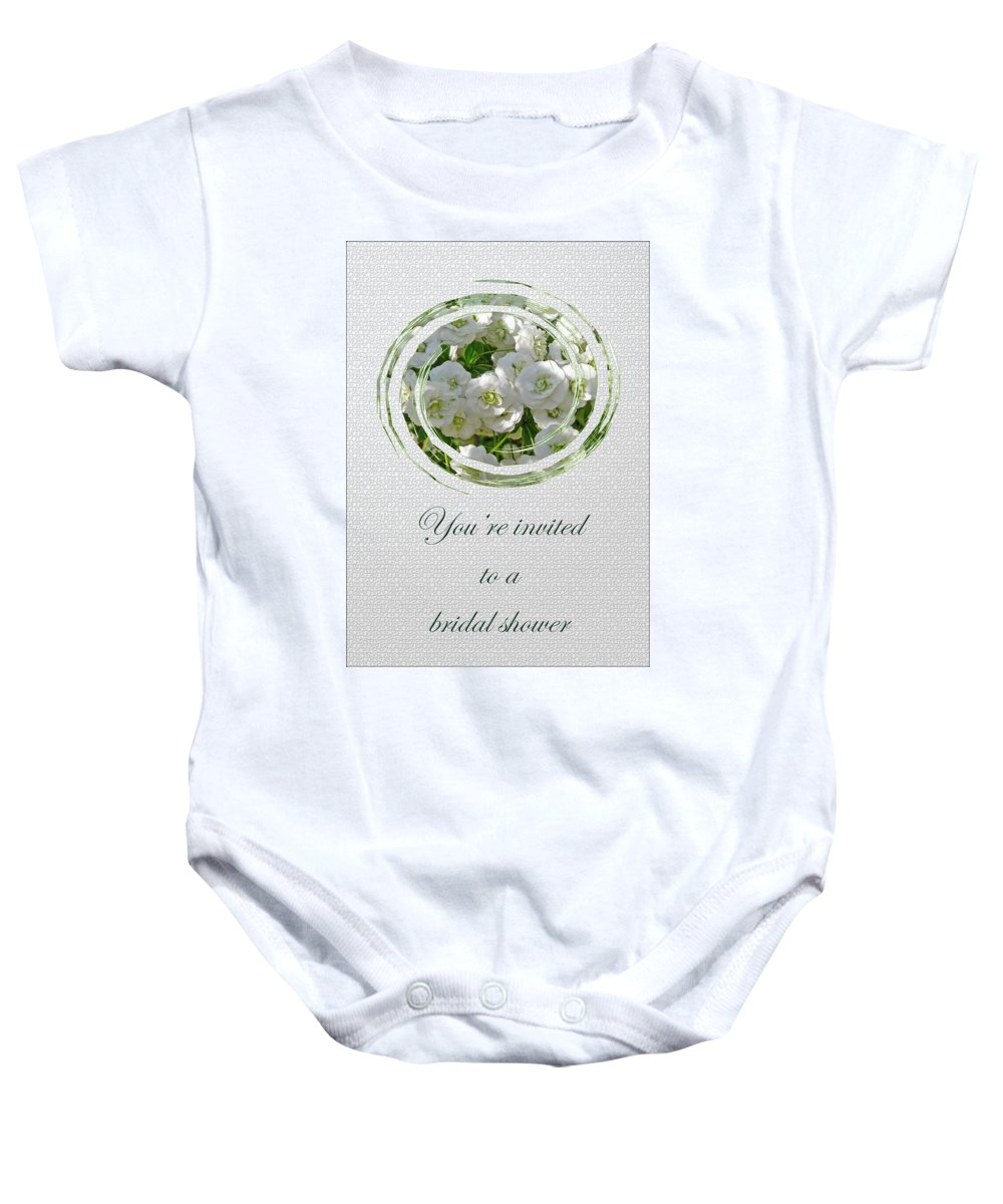 Bridal Baby Onesie featuring the photograph Bridal Shower Invitation - White Spirea by Mother Nature