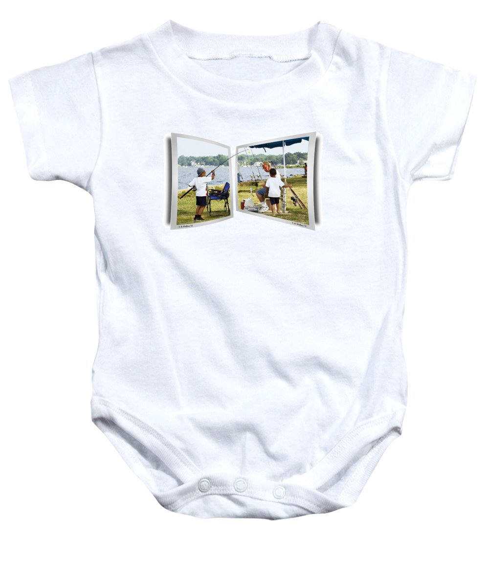 2d Baby Onesie featuring the photograph Brothers Fishing - Oof by Brian Wallace