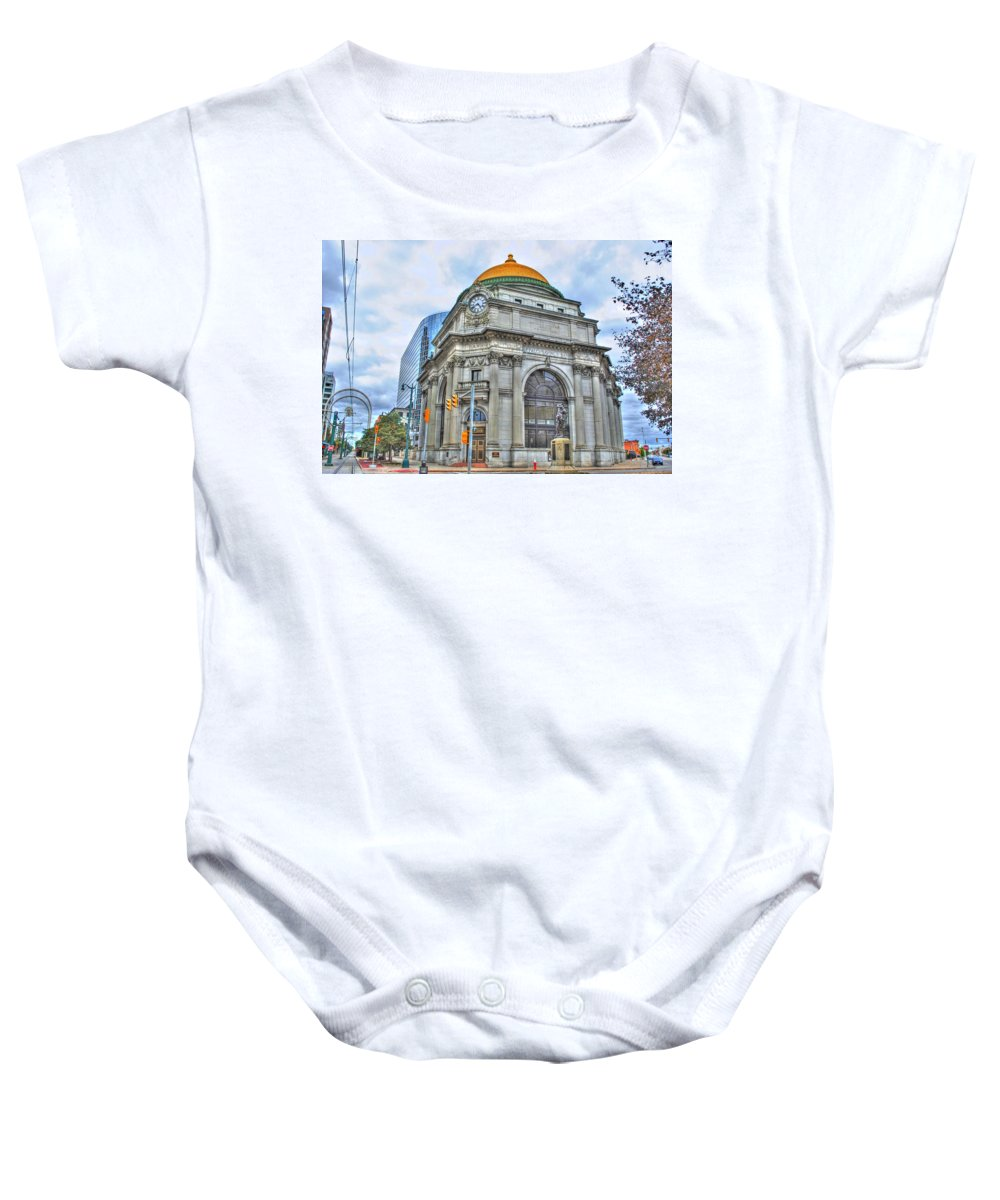 Baby Onesie featuring the photograph Buffalo Savings Bank Goldome M And T Bank Branch by Michael Frank Jr
