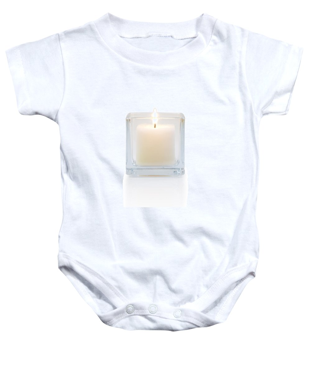 Candle Baby Onesie featuring the photograph Burning Candle Front View by Atiketta Sangasaeng