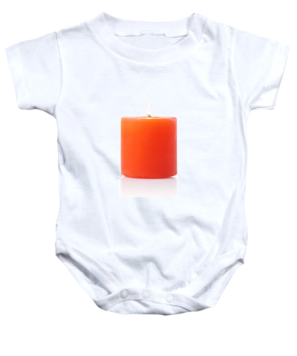 Candle Baby Onesie featuring the photograph Burning Red Candle by Atiketta Sangasaeng