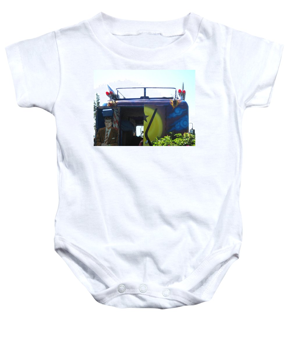 Kensey Bus Baby Onesie featuring the photograph Bus With A 59 Cadillac On Top by Kym Backland