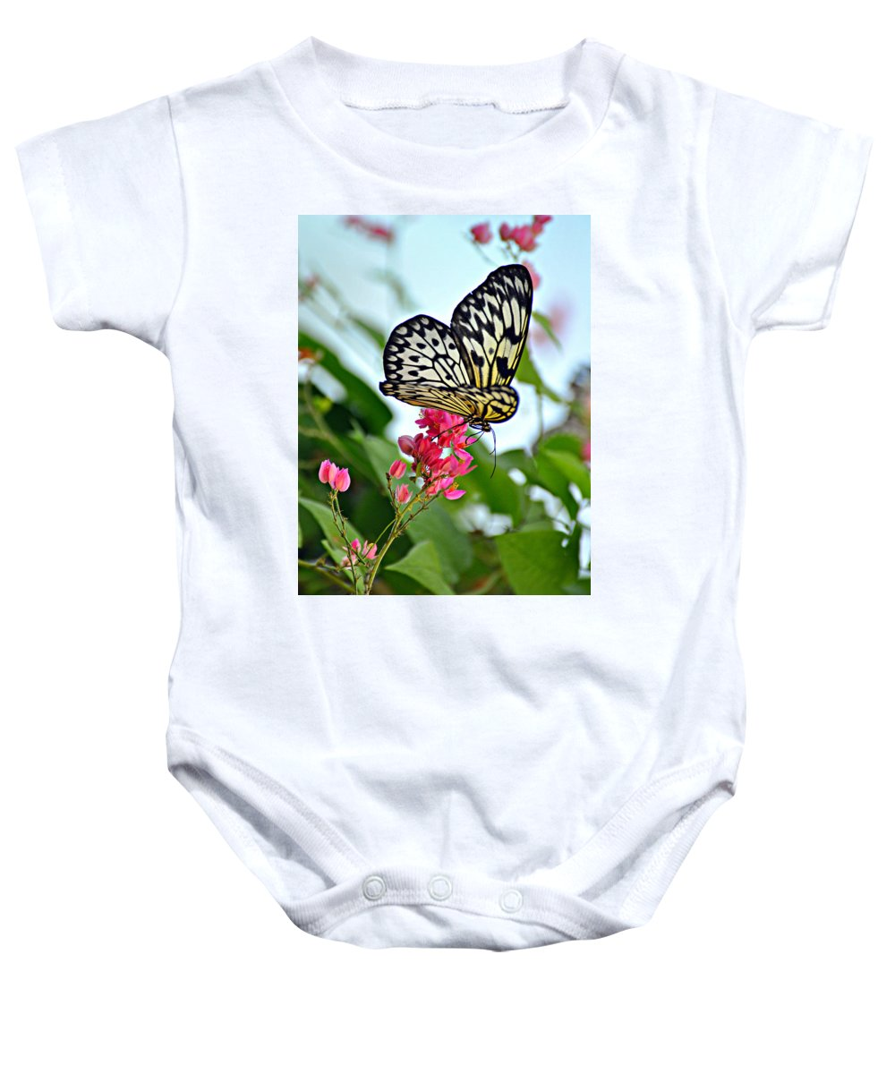 Butterfly Baby Onesie featuring the photograph Butterfly Glow by Marty Koch