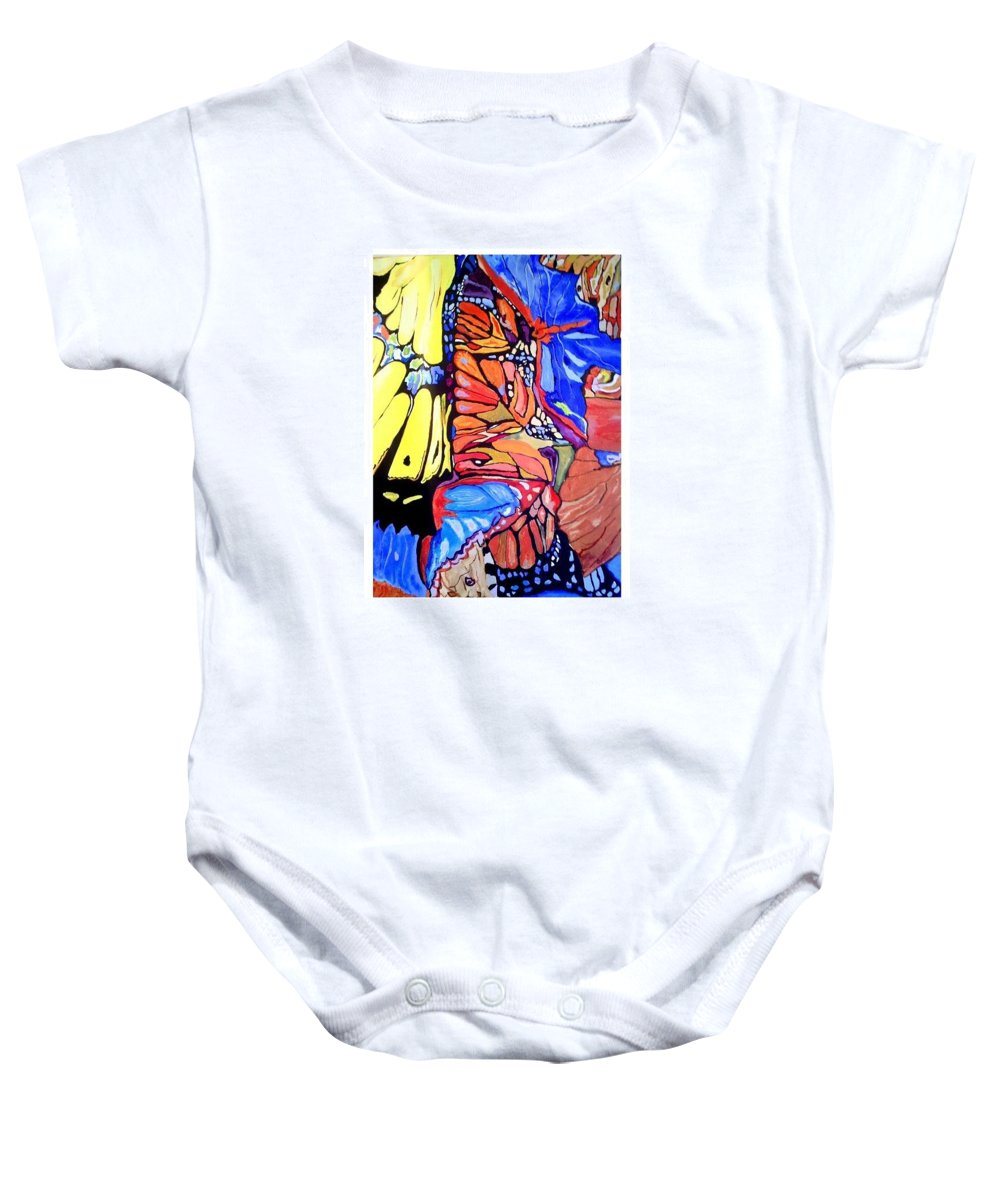 Butterfly Wings Baby Onesie featuring the painting Butterfly Wings by Sandra Lira
