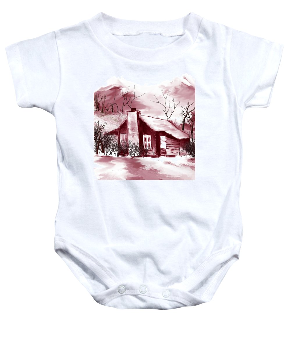 Fine Art Baby Onesie featuring the digital art Cabin2 by David Lane