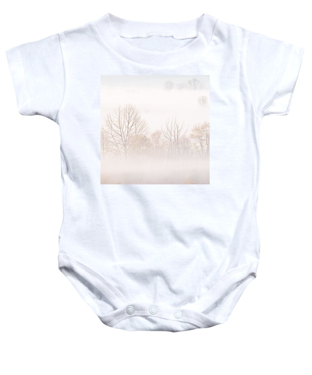 Fog Baby Onesie featuring the photograph Cades Cove Fog - Square Version by Bill Swindaman