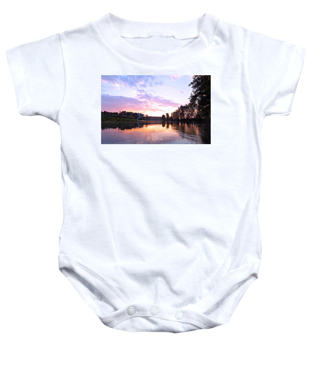 Landscape Baby Onesie featuring the photograph Camp Fire Sunset by Paul Fell