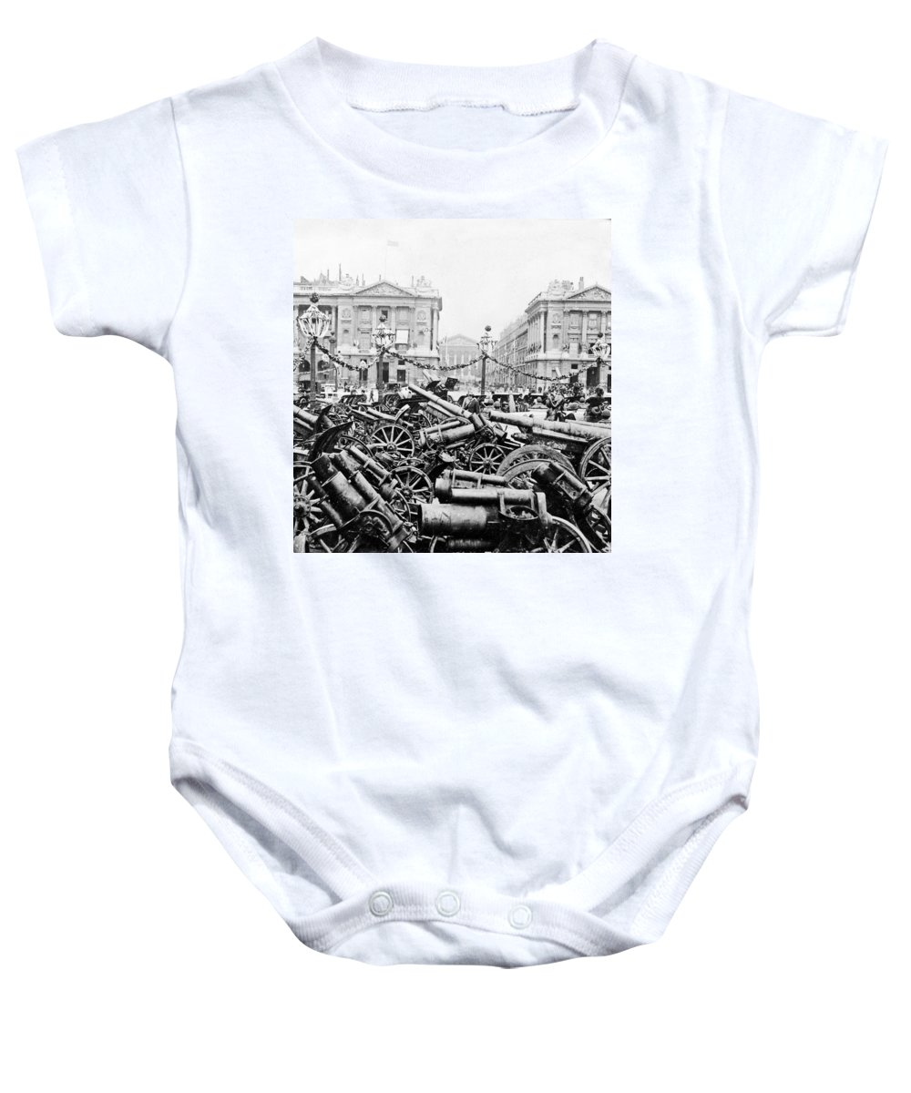 German Baby Onesie featuring the photograph Captured German Guns At Palace De La Concorde In Paris - France by International Images