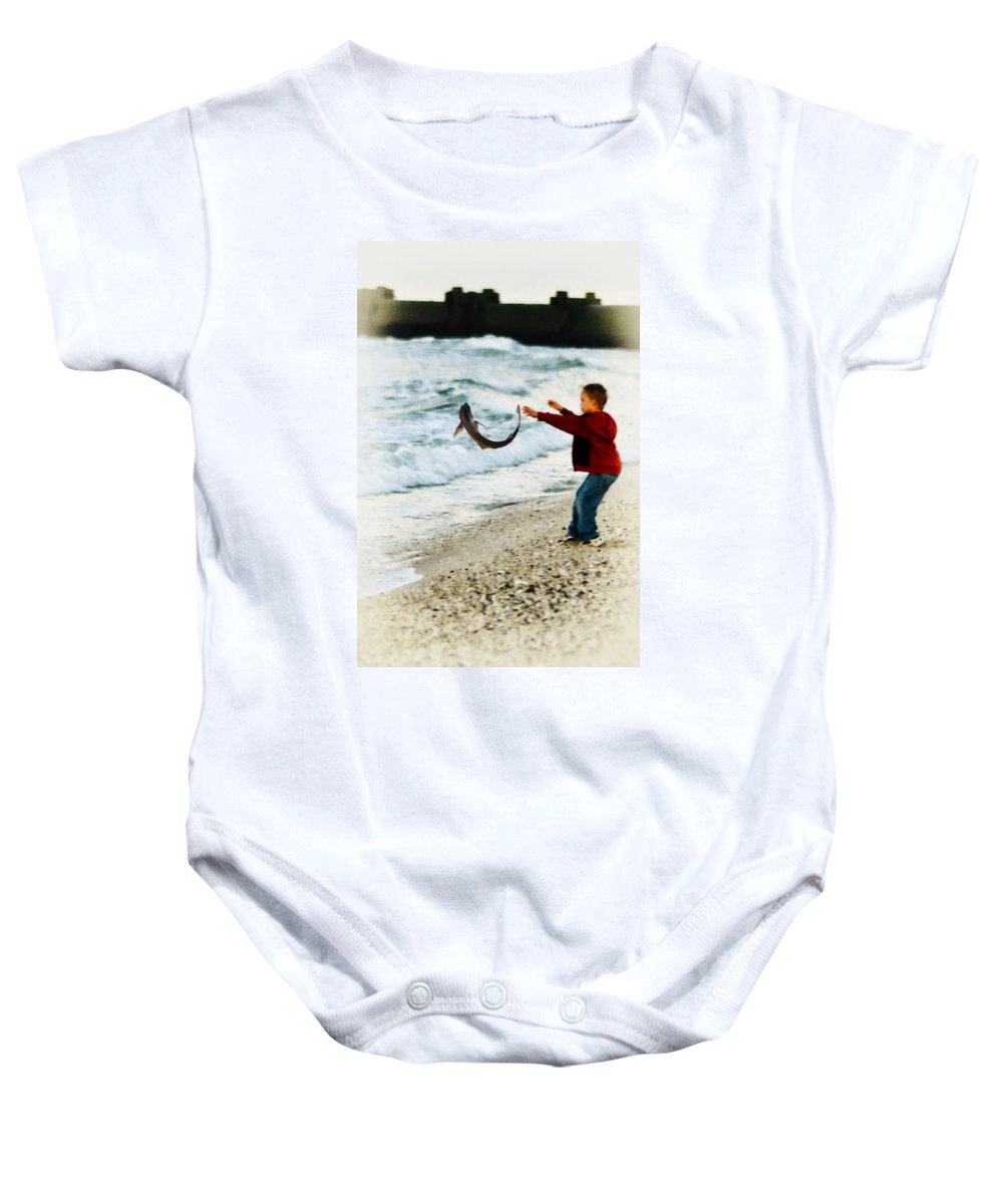 Catch And Release Baby Onesie featuring the photograph Catch And Release by Bill Cannon