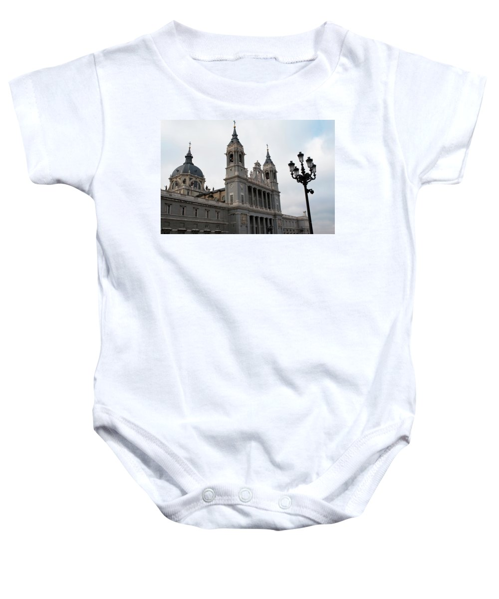 Madrid Baby Onesie featuring the photograph Cathedral Morning by Lorraine Devon Wilke