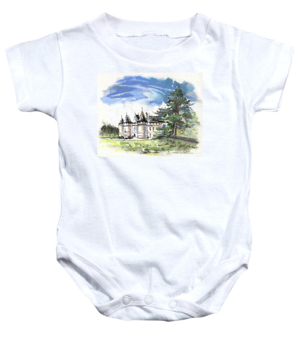 France Baby Onesie featuring the painting Chateau De Chaumont In France by Miki De Goodaboom