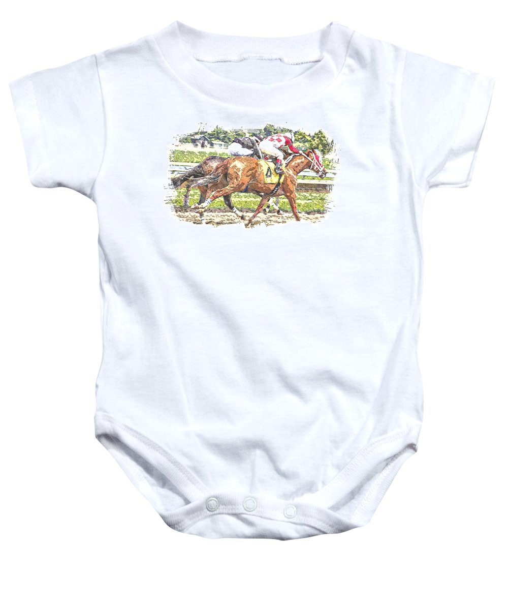 Horse Race Racing Abstract Jockeys Baby Onesie featuring the photograph Checkers by Alice Gipson