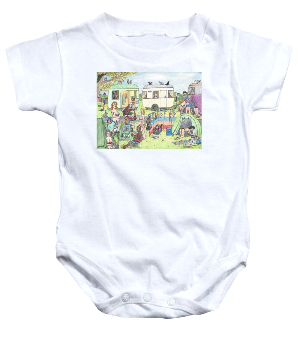 Camping Baby Onesie featuring the drawing Chest Out Camping by Steve Royce Griffin