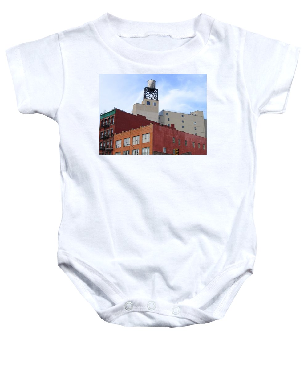 City Buildings Baby Onesie featuring the photograph City Buildings On Bowery by Denise Keegan Frawley